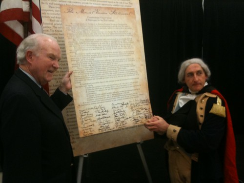 National Tax Limitation Committee President Lew Uhler Poses with the Mount Vernon Statement and George Washington impersonator James Manship