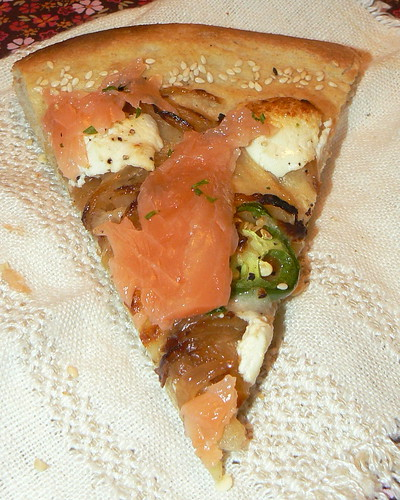 Pizza:  Onion, Goat Cheese, Gravlax
