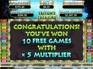 free Triton's Treasure slot bonus feature