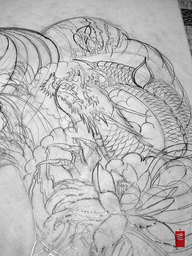 Dragon Tattoo Half Sleeve. dragon lotus half sleeve back