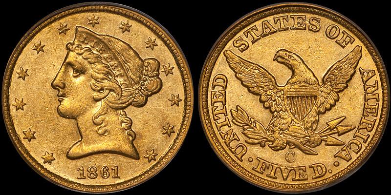 1861-C $5.00 PCGS AU58