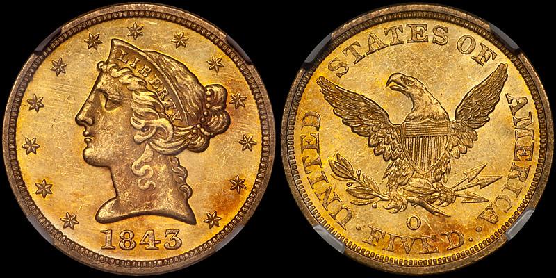 1843-O $5.00 NGC MS63