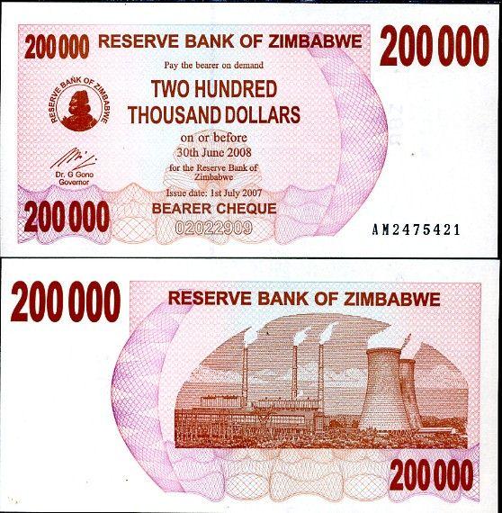 ZIMBABWE 200,000 D. BEARER CHEQUE 2007 P49