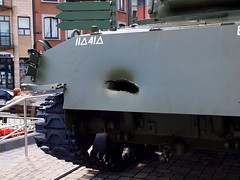 P7200298 (ashmieke) Tags: vacation holiday geotagged europe olympus 3s day5 zuiko ustank battleofthebuldge zuiko1260mm e620 eurotrip2009 bastognetown bazookadamage tankdamage