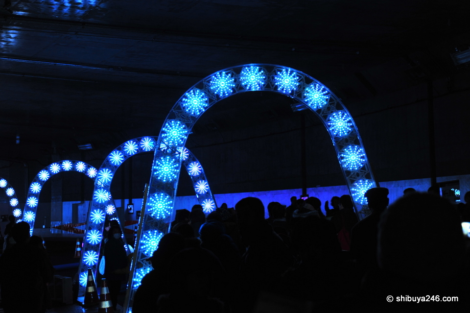 Some of the illuminated archways people could walk through.