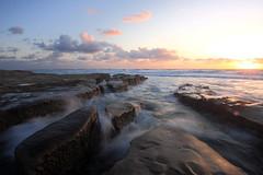 Rushing water sunset