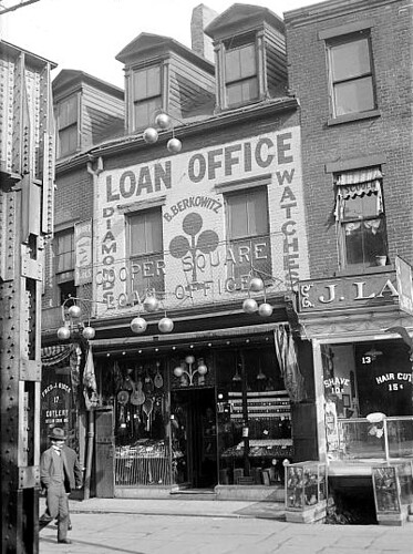 A representative view of a pawn shop from the time period.