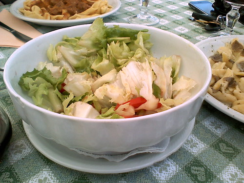 Locally grown salad with homemade wine vinegar