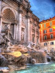Fontana di Trevi HDR (CameliaTWU) Tags: blue italy orange rome roma fountain italia trevi trevifountain fontana hdr highdynamicrange fontanaditrevi seenonflickr outstandingromanianphotographers