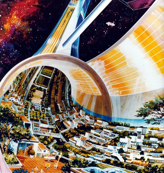 space colony art from 1975