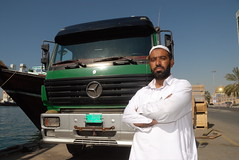 TRUCKING IN DUBAI (Claude  BARUTEL) Tags: mercedes dubai united transport emirates arab sharjah trucking