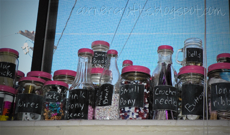 glass jars labeled finished paint chalk