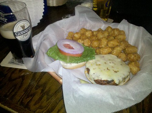 tang burger w/ tater tots & guinness