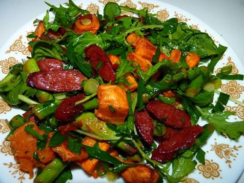 Asparagus, Kumara & Chorizo salad