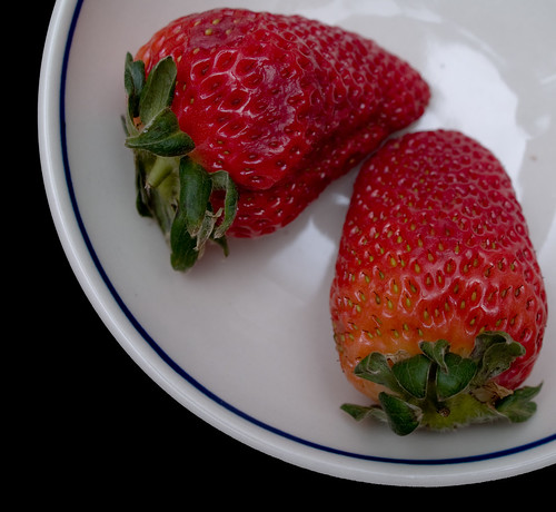 Strawberries in Polish Pottery