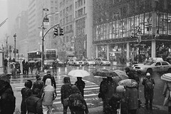 snow day (ho_hokus) Tags: nyc newyorkcity winter snow newyork bus weather umbrella walking manhattan taxi 5thavenue pedestrian sidewalk pedestrians stoplight umbrellas snowday 42ndstreet olympusmjuii ilfordxp2s