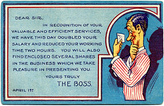 Dear Sir, We Have This Day Doubled Your Salary, The Boss (Alan Mays) Tags: old blue red men work vintage paper cards typography clothing funny holidays humorous comic notes jobs antique stripes letters humor illustrations ephemera clothes tricks jokes postcards type april series greetings 1910 1910s fools pranks fonts bosses printed striped borders businesses april1st aprilfools typefaces supervisors practicaljokes greetingcards caricatures aprilfool raises april1 aprilfoolsday postcardseries salaries addtoip addedtoip aprilfoolseriesno1 aprilfoolseries