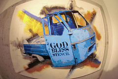 NEW WORKS | GALERIE ITINERRANCE | GOD BLESS STENCIL (orticanoodles) Tags: paris stencil galerie fisheye canvas pochoir ape50 newworks soloshow stencilhistoryx itinerrance godblessstencil