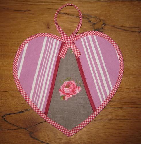 heart potholder front