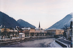 Bad Ischl. (GuvanuvaLala) Tags: zorki old city film church 35mm vintage river austria bad esplanade russian fluss traun russianleica ischl zorki4 zorki4k