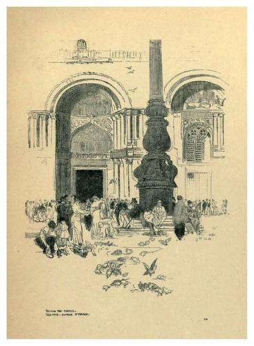 017-Alimentando a las palomas en la plaza de San Marcos-Venice  a sketch-book 1914- Richards Fred