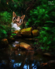 Butterfly Fairy - Day 8 (Eileen Bruce) Tags: blue white green girl forest photomanipulation butterfly hair wings pond rocks dress pad potd fairy photoaday magical photooftheday fantasty aprilphotooftheday