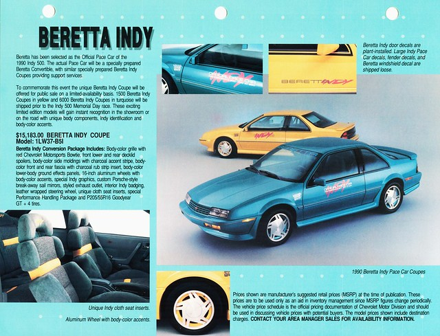 chevrolet replica pacecar brochure coupe 1990 beretta indy500