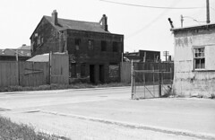 Historic photo from Monday, May 18, 1981 - Cherry St, ws, south of Front St E. One of the last originally residential structures left by 'collations' Patrick Cummins in Distillery District