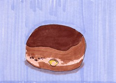 Boston Creme Donut (Homemade Pop) Tags: art artwork artist folkart outsiderart folk originalart contemporary drawings pop popart homemade marker prints prismacolor foodart doodling 5x7 magicmarker foodpackaging pilotpen cheapart retroart brightart originalillustration quirkyart