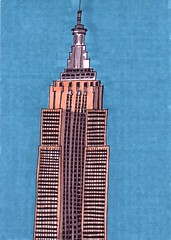 Empire State Building (Homemade Pop) Tags: art artwork artist folkart outsiderart folk originalart contemporary drawings pop popart homemade marker prints prismacolor foodart doodling 5x7 magicmarker foodpackaging pilotpen cheapart retroart brightart originalillustration quirkyart