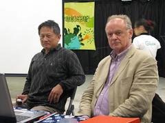 左:彰化環保聯盟理事長蔡嘉陽。右:國際國民信託聯盟(INTO)會員發展部最高負責人奧利佛‧莫里斯(Oliver Maurice)