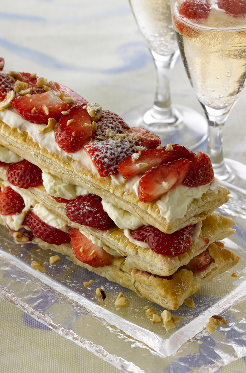 :: Quick Millefeuille with Toasted Hazelnuts, Cointreau and Strawberry Mascarpone Cream Filling