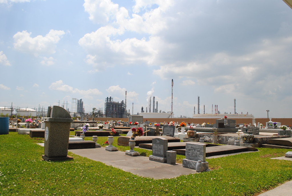 headstones, smokestacks