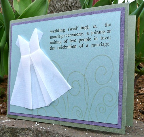 Wedding card with mini-origami dress