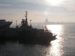 Three Ships (Puerto De Liverpool.) Tags: sun sunlight reflection silhouette liverpool river dark boats evening three warm ships calm birkenhead shade hazy mellow merseyside ventilationshaft thewirral themersey