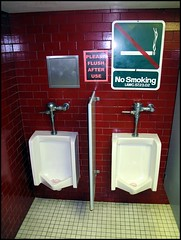 Museum Urinals - not vintage. (greenthumb_38) Tags: public sign museum bathroom losangeles restroom nautical nosmoking urinal processed stalls sanpedro photoimpact mensroom nosmokingsign pleaseflush merchantmarine losangelesmaritimemuseum jeffreybass canonpowershotg11 canong11 photowalksanpedroapril2010