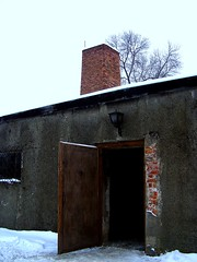 Entrance. Exit. (edited) (Workspace__25) Tags: winter chimney cold sign urn holocaust wire memorial fences poland electrocution gas medical ashes chamber hanging blocks rudolf jews squad auschwitz arbeit barbed crematorium firing frei execution maximilian macht kolbe oswiecim owicim i hss