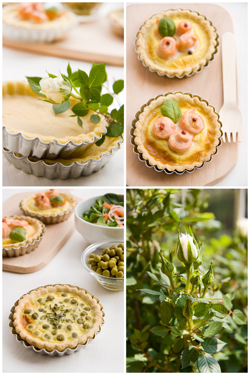 Collage quiche con roselline di salmone