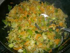 sauteed aromatic herbs and vegetables