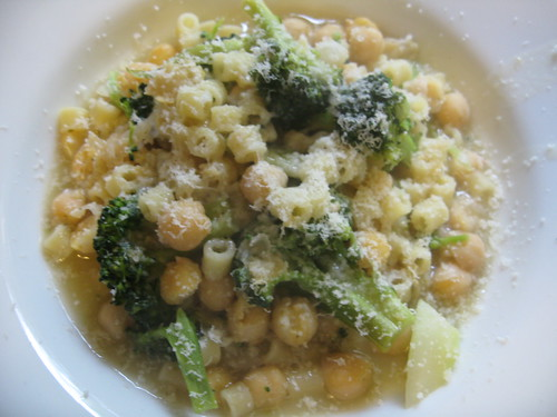 Chickpea and Brocolli Soup with Ditalini