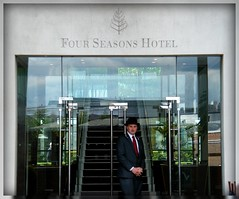 The extremely modern Four Seasons Hotel London...