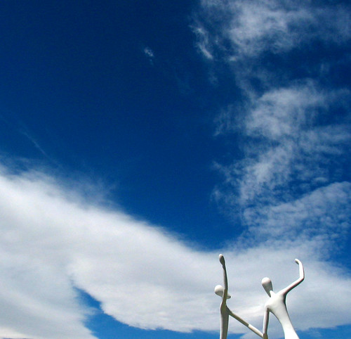 White Sculpture Playful Blue Sky Clouds
