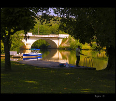 TakingTime Out. (Picture post.) Tags: bridge trees sunlight france green nature water reflections river landscape boats eau paysage arbre angler otw dappledlight mywinners thedordogne spiritofphotography