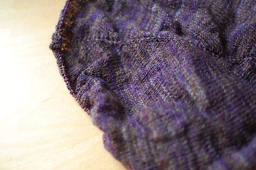 laceweight, purple stockinette