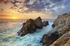 Pinnacle Rock #4 - Point Lobos, California (PatrickSmithPhotography) Tags: ocean california travel sunset sea vacation sky usa seascape beach nature rock fog sunrise canon landscape monterey sand wave carmel granite 5d pointlobos stratus mkii pinnaclerock canon5dmkii photocontesttnc10