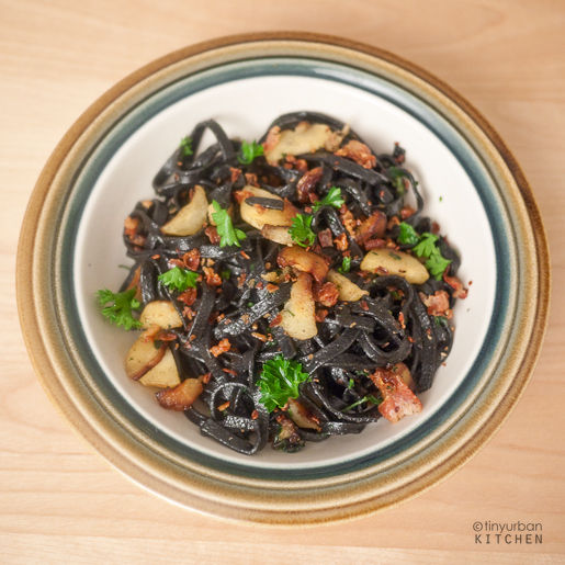 Squid Ink Pasta with Parsnips and Pancetta