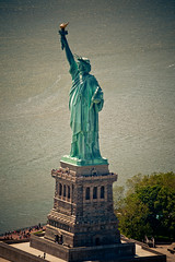 (3rdeyepro) Tags: city nyc urban newyork statue canon liberty island aerial helicopter redrock 70300mm birdseyeview heli 5dmarkii 5dmkii capatainstubling