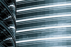 Ventanas (gastelummoller) Tags: city travel windows arizona urban bw white black building phoenix architecture buildings reflections edificios geometry curves perspective angles tempe reflejos closer corporative tempelake incoloro eliteimages