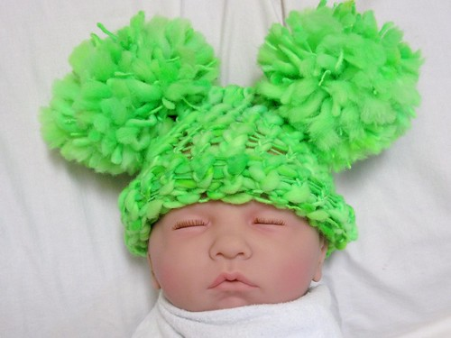 Neon Green Double Pom-Pom Infant Hat