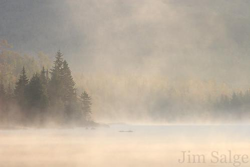 Mist Catching the Sun - Flat Mountain Pond